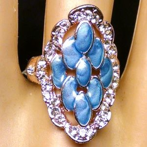 Elegant Blue Enamel Shiney Rhinestones Sexy Ring